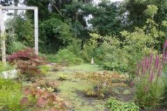 Het oosterse gedeelte van de tuin is al bijna dicht gegroeid met Mentha requinii.  Verder o.a. Hydrangea quercifolia,  Hackenochloa macra, Darmera peltata, Selinum wallichianum